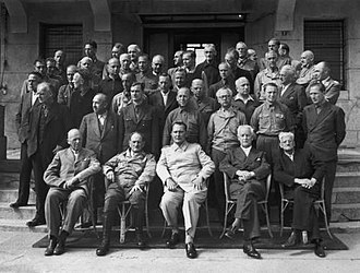 "Mondorf-les-Bains - The ""Class of 45""; the prisoners of Camp Ashcan. At the center of the bottom row, Hermann Göring."