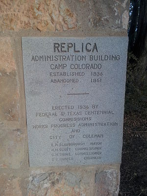 Coleman, Texas - Image: Camp Colorado Administration Building Plaque