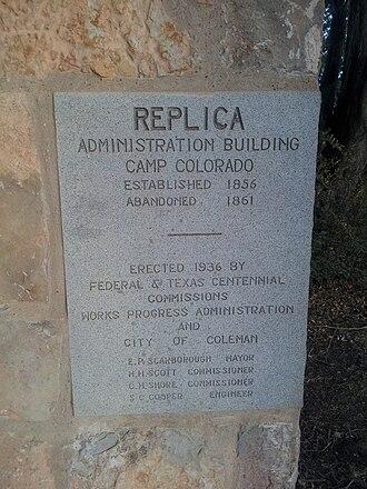 Coleman, Texas - Image: Camp Colorado Administration Building Plaque