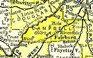 Campbell County, Georgia - 1895 map