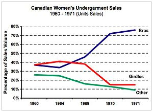 "Wonderbra - Source: Canadian government industry statistics. N.B., during the period sales figures were compiled by Industry Canada, panties were considered ""lingerie,"" rather than so-called ""foundation undergarments"" and are not part of this data set."