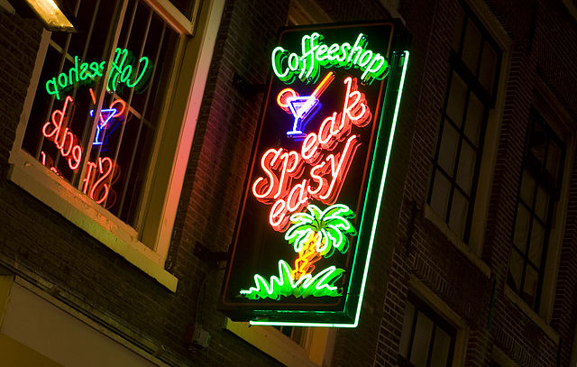 A view of a neon sign of a cannabis coffee shop in Amsterdam, The Netherlands (Massimo Catarinella)