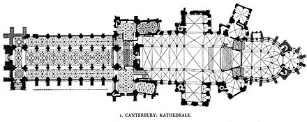 Plan of Canterbury Cathedral showing the complex ribbing of the Perpendicular vaulting in the nave and transepts Canterbury cathedral plan.jpg