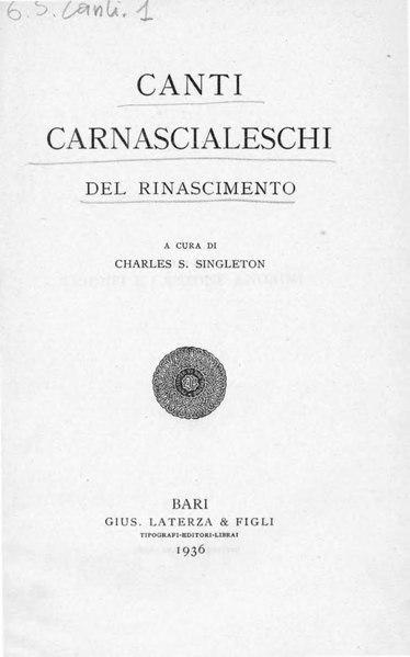 File:Canti carnascialeschi del Rinascimento, 1936 – BEIC 1780373.djvu