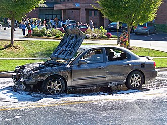 Vehicle fire - Aftermath of a car fire in Silver Spring, Maryland.