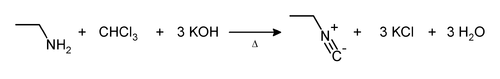 The carbylamine reaction with ethyl amine