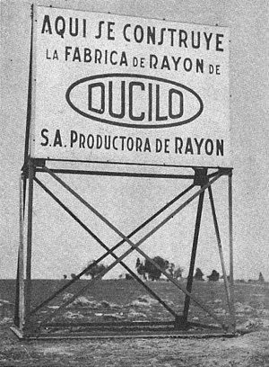 Club Atlético Ducilo - Signage announcing the construction of the Ducilo industrial plant in Berazategui, c. 1935.
