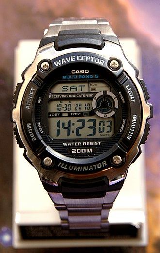 Casio Wave Ceptor - A Casio wave ceptor WV-200DE watch. The Multi-Band 5 indicates that it can receive time calibration signals from five radio towers in the world