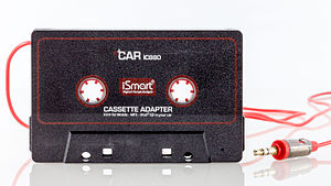 Cassette tape adaptor - A typical cassette adapter with a short cable and a 3.5 mm minijack phone connector
