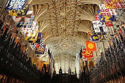 Banners of the members of the order in St. George's Chapel Castell de Windsor - Capella de Sant Jordi.JPG