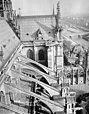 Cathédrale Notre-Dame - Façade sud, arcs-boutants et transept pris du haut de la tour sud-ouest - Paris 04 - Médiathèque de l'architecture et du patrimoine - APMH00014042.jpg