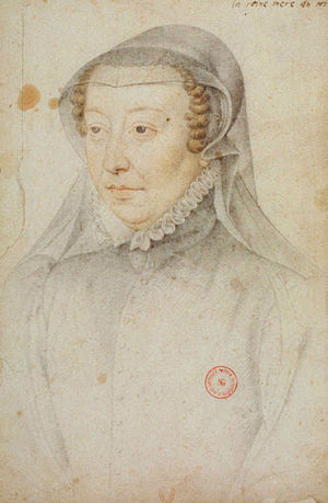 Catherine de' Medici's patronage of the arts -  Portrait drawing of Catherine de' Medici, by François Clouet, c. 1560