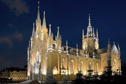 Cathedral of the Immaculate Conception, an example of Brick Gothic revival Catholic Cathedral Moscow Night.jpg