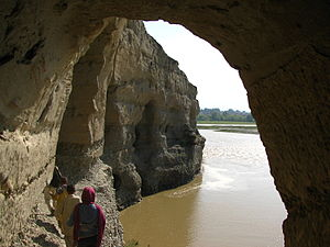 Kabul River - Buddhist caves, which have been carved into a set of cliffs on the north side of the Kabul river