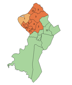 Gran Asunción - In Orange, cities part of the Greater Asunción.   In green, the rest of the central departament.