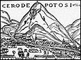 Cerro de Potosí. Grabado en madera, del libro Crónica del Perú, 1552, de Pedro Cieza de León.jpg