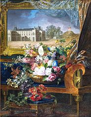 Basket of Flowers and View of a Royal Palace of Valencia