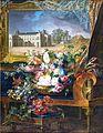 Cesta de flores y vista del Palacio Real de Valencia (Museo del Prado).jpg