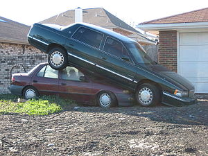 Chalmette, Louisiana - Hurricane Katrina: cars in Chalmette, post-hurricane.