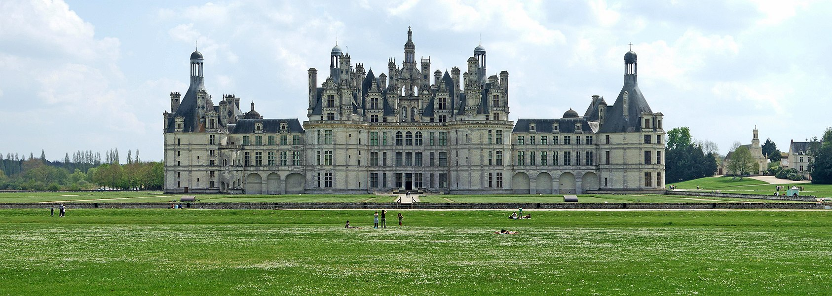 Panorama of Château de Chambord, France.
