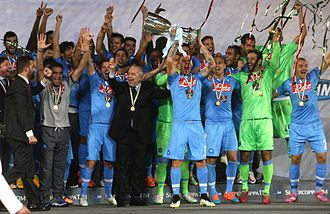 S.S.C. Napoli - Napoli celebrating their 2014 Supercoppa Italiana win.