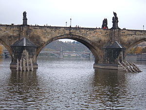 Arches of the Charles Bridge as seen from the ...