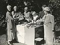 Charlotte Despard and Emmeline Pethick Lawrence at a produce stall, 1930s. (22793442060).jpg