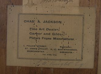 Manchester School of Painters - Chas A Jackson 1920s picture label.
