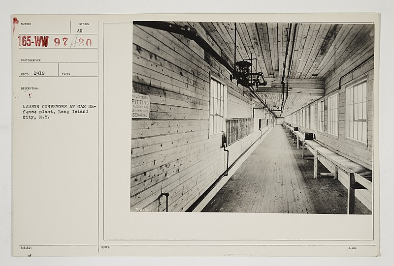 File:Chemical Warfare Service - Equipment - Miscellaneous - Lamson conveyors at gas defense plant, Long Island City, New York - NARA - 26424088.jpg