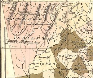 Cherokee County, Georgia - 1822 map of Cherokee lands in Georgia