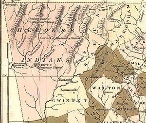 Cherokee County, Georgia - 1822 map of Cherokee lands in Georgia