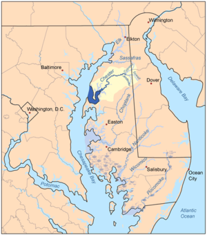 Chester River - Map of the rivers of the Eastern Shore of Maryland with the Chester and its watershed highlighted.