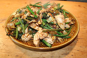Chicken and almonds stir fry