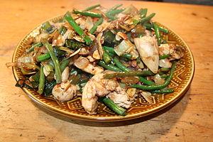 Chicken and almonds stir fry