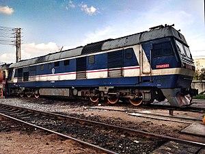 China Railways DF8 - DF8B 7001 in Liuzhou Locomotive Depot which use two radial bogies.