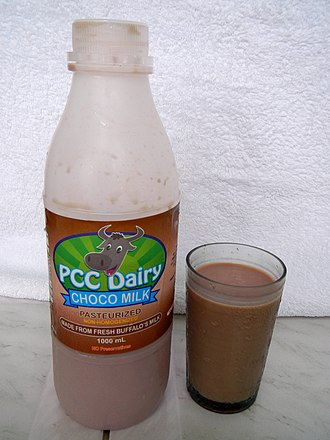 Chocolate milk - A glass of pasteurized chocolate milk made from water buffalo's milk produced by the Philippine Carabao Center