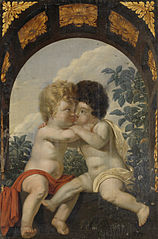 Christian Allegory with two Children Hugging each other