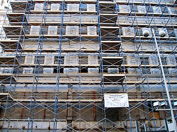 Extensive scaffolding on a building in downtow...