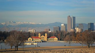 City Park, Denver - The Denver skyline from City Park in January