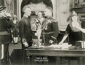 Herschel Mayall - Howard C. Hickman (wounded), Charles K. French, Herschell Mayall and Lola May in 1916 film Civilization