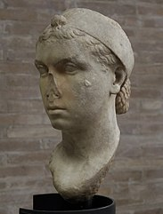 Another bust of Cleopatra, with the nose damaged