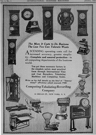 Computing-Tabulating-Recording Company - Front cover of a January 1920 sales catalog showing clocks, scales and tabulating equipment)