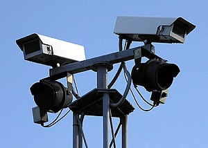 Automatic number plate recognition in the United Kingdom - Closed-circuit television cameras such as these can be used to take the images scanned by automatic number plate recognition systems