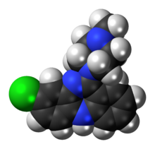 Space-filling model of the clozapine molecule