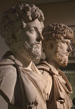 Roman–Parthian War of 161–166 - Busts of the co-emperors Marcus Aurelius (left) and Lucius Verus (right), British Museum