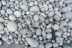 Grain size - Beach cobbles at Nash Point, South Wales.
