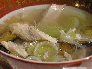 Cock-a-leekie soup - Image: Cock a leekie Soup