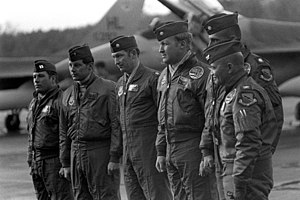 Jerauld R. Gentry - Colonel Gentry, commander 388th Tactical Fighter Wing (far right)