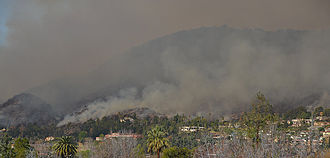 2017 California wildfires - Photo of the Colby fire in Angeles National Forest.