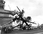 Collapsed mast aboard USS Essex (CVS-9) on 17 December 1963 (NNAM.1996.488.242.048).jpg